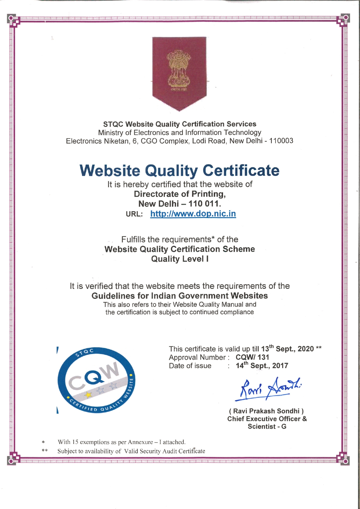 WEBSITE QUALITY CERTIFICATE (WQC), DTE. OF PRINTING.